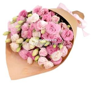 Букет из 25 розовых Эустом