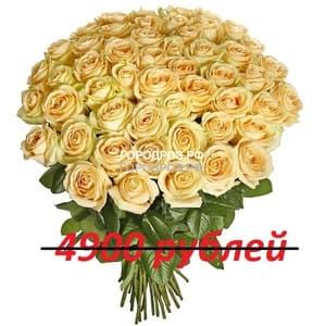 Букет из 49 кремовых роз