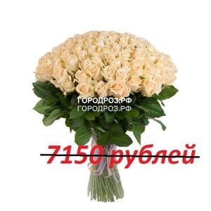 Букет из 65 кремовых роз