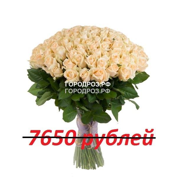 Букет из 85 кремовых роз