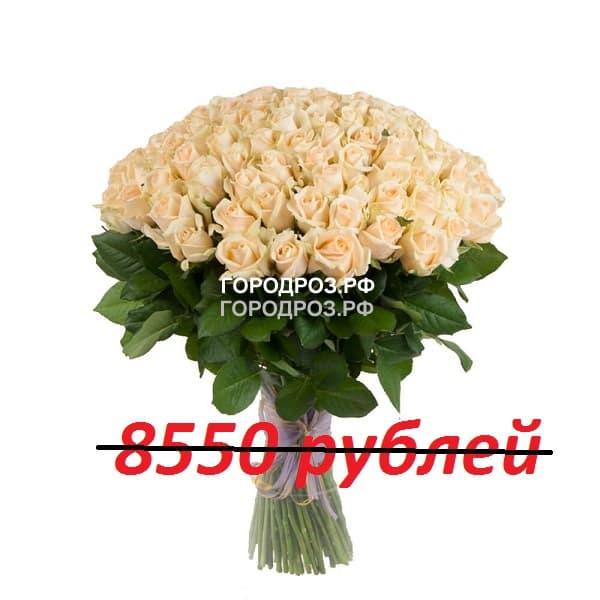 Букет из 95 кремовых роз