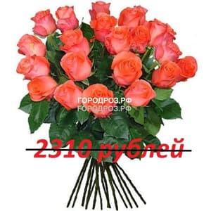 Букет из 21 коралловой розы