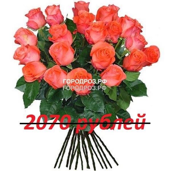 Букет из 23 коралловых роз