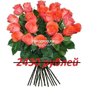 Букет из 27 коралловых роз