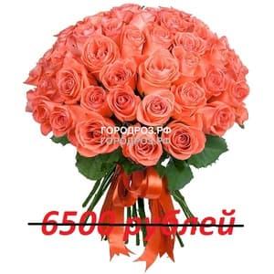 Букет из 65 коралловых роз