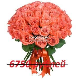 Букет из 75 коралловых роз