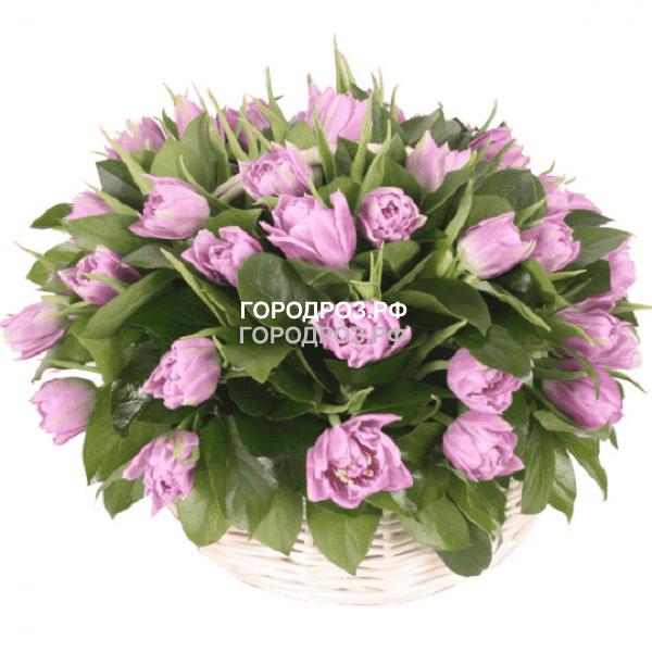 Средняя корзина сиреневых тюльпанов