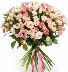 Букет из 39 розовых кустовых роз