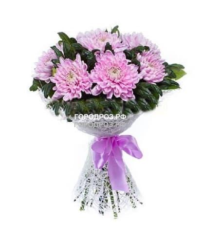 Букет из 9 розовых одноголовых хризантем