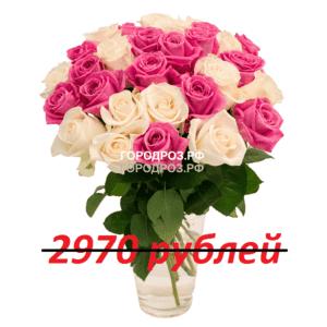 Букет из 33 розовых и белых роз