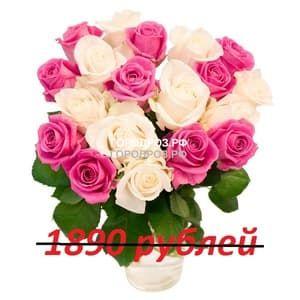 Букет из 21 розовой и белой розы