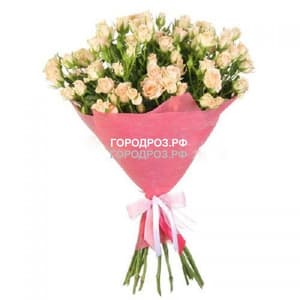 Букет из 19 нежно-розовых кустовых роз