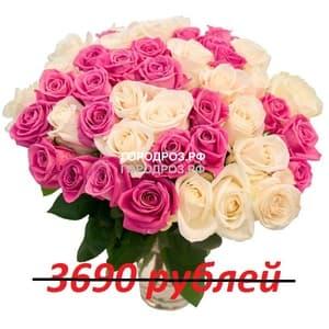 Букет из 41 розовой и белой розы