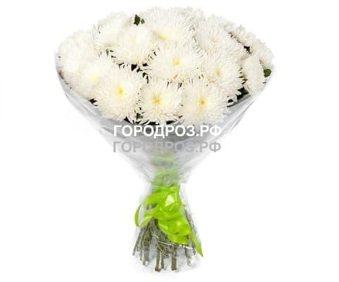 Букет из 19 белых одноголовых хризантем