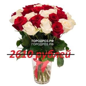 Букет из 29 красных и белых роз