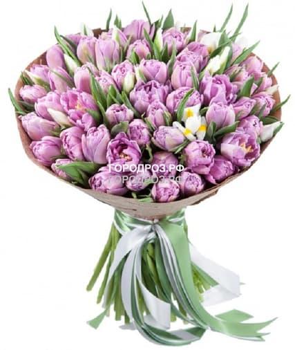 Букет из 51 розового Тюльпана