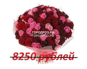 Букет из 75 красных и розовых роз