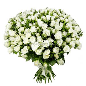 Букет из 39 белых кустовых роз