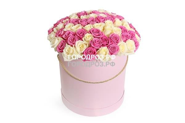 Розы разноцветные микс 2 в шляпной коробке