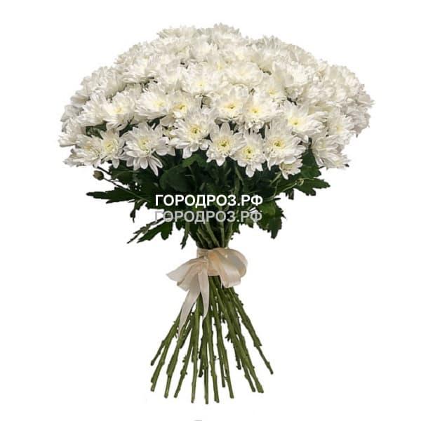 Букет из 19 белых кустовых хризантем