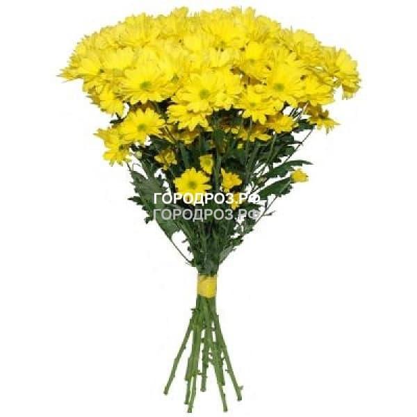 Букет из 9 желтых кустовых хризантем