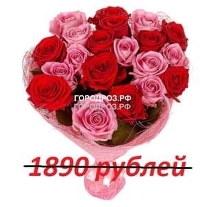 Букет из 21 красной и розовой розы