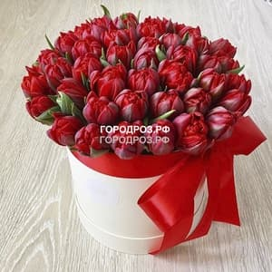 Красные тюльпаны в шляпной коробке