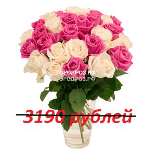 Букет из 29 розовых и белых роз