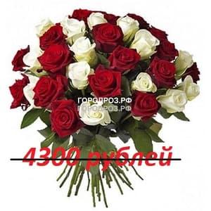 Букет из 43 красных и белых роз