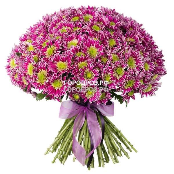 Букет из 51 розовой кустовой хризантемы