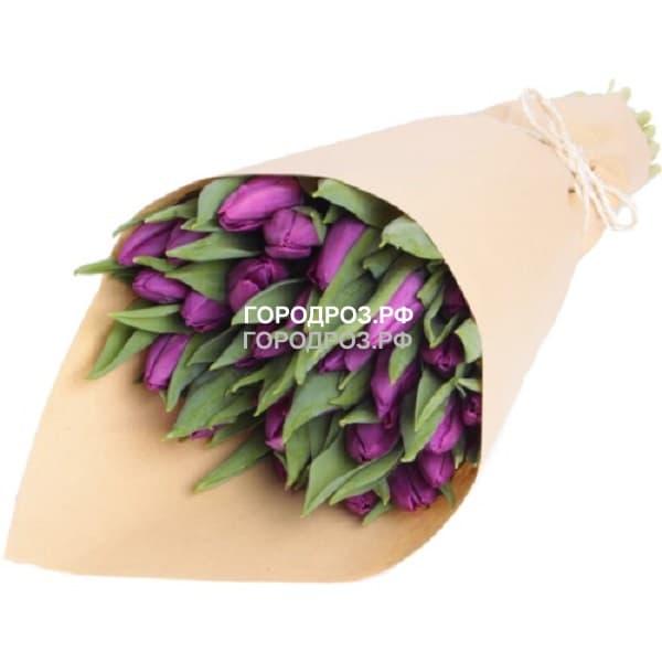 Букет из 51 фиолетового Тюльпана