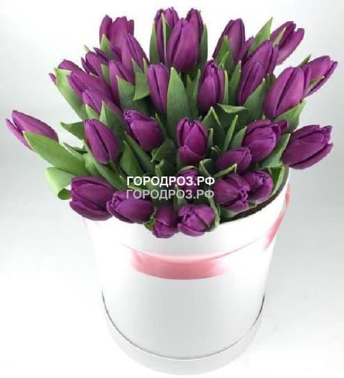 Фиолетовые тюльпаны в шляпной коробке