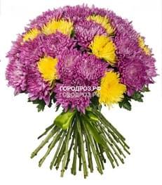 Букет из 51 одноголовой хризантемы Микс Разноцвет