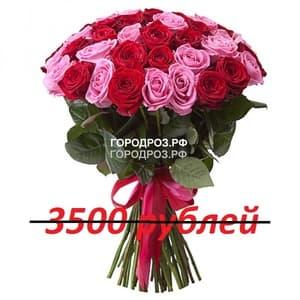 Букет из 35 красных и розовых роз
