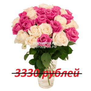 Букет из 37 розовых и белых роз