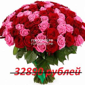 Букет из 301 красной и розовой розы