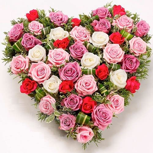 Букеты - сердце из роз