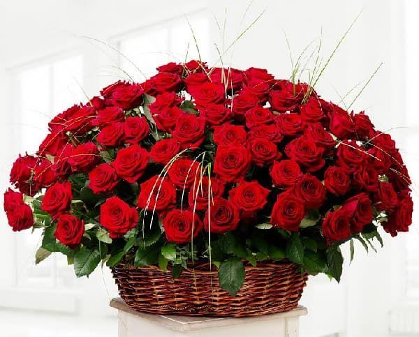 Корзины роз
